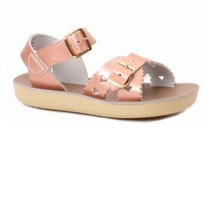 Rose gold water sandals with hearts!